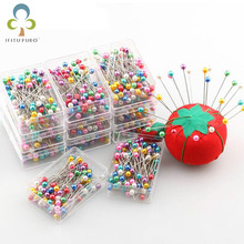 100pcs/box Round Pearl Head Dressmaking Pins Weddings Corsage Florists Sewing Pin Mixed Color accessories GYH(China)