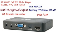 Full HD 1080P Car Media Player HDMI,AV output,3D HD TV USB SD Card reader,Free Car adapter AV Cable GIFT Free shipping!
