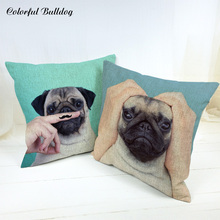 Throw Pillow Cushion French Bulldog Hand Handlebar Scissors Hand Holding Face 45*45cm Square Home Sofa Car Seat Decor Wholesaler(China)