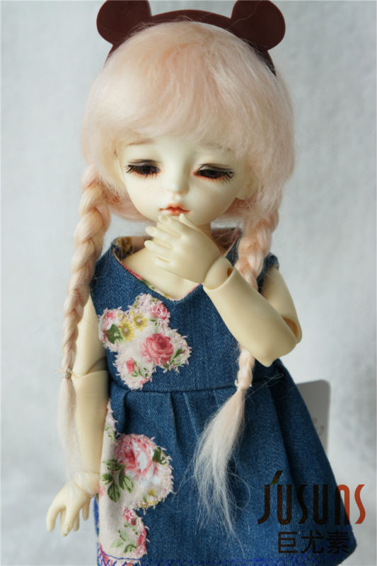JD018 1/8 1/6 100% mohair doll wig  Anna Double braid BJD hair  5-6inch 6-7inch peach pink wig<br>