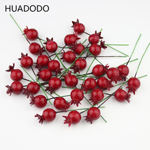 HUADODO 20Pieces Mini Artificial Pomegranate Fruit berry Stamens for Wedding Home Christmas Flower Decorative