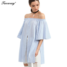 2017 Women Butterfly Sleeve Casual Tops ladies Elegant Sexy Off Shoulder Blouse Shirt Summer Style Cotton Striped Blouse(China)
