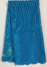 Free shipping nice looking African nigerian lace fabric with sequins for party&wedding dress  French net lace fabric EYL015 BLUE