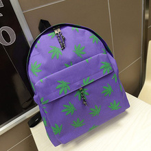 High Quality Products  Spring Travel Girl Womens Canvas Campus Backpacks Leaves Printing Casual Student School Book Bags