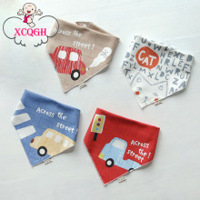 XCQGH 2Pcs/Lot Cartoon Car Bib Triangle Baby Bibs Bandana Baby Dribble Bib Baberos Children Feeding Accessory(China)