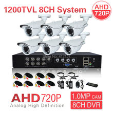 CCTV AHD 720P 1200TVL 6CH Security Camera System 8CH HDMI 3-IN-1 Hybrid DVR NVR 1080N Surveillance Kit P2P PC Phone Mobile View