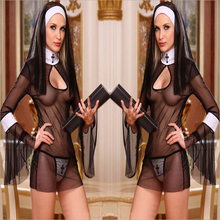 Sexy Costume Women Cosplay Nuns Uniform Transparent Erotic Lingerie Hot Porn Exotic Apparel Nun Halloween Dress Outfit Clothes 5
