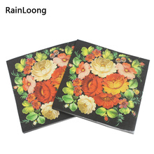 [RainLoong] New Floral Flower Paper Napkins Event & Party Tissue Cocktail Napkins Decoration Serviettes 33*33cm 20pcs/pack/lot(China)