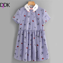 DIDK Contrast Hand Pattern Collar Facing Print Smock Dress Contrast Collar Short Sleeve A line Embroidery Dress(China)