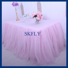 SK005D standard 6ft rectangle banquet elegant puffy tutu wedding tulle table skirt or table cloth with top(China)