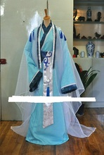 1710 TianQing Sapphire Blue Sky Blue Male Tailed Costume Hanfu Cosplay Stage Performance Costume for Photography(China)