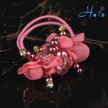 Free Shipping 12pcs/lot Handmade Hot Pink Flower Beaded Ponytail Holder  Cheap Hair Accessories HP0010