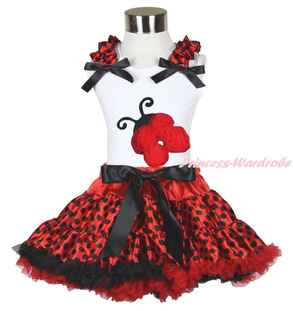 Halloween White Top Beetle Ladybug Ladybird Red Black Dot Skirt Cloth Set 1-8Y MAPSA0632<br>