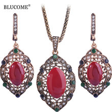 Blucome Red Enamel Vintage Jewelry Sets Turkish Necklace Earrings Set Princess Hooks Brincos Party Women Pendant Mother Gifts