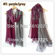 Unique New Women Ombre Flower Hijab Shawl 100% Viscose Ladies Scarves Fashion Accessories Design Wholesale Free Shipping