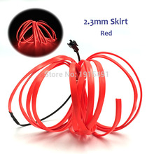 5Meters Sewable 2.3mm Skirt Neon Red Led Strip Excluding Converter Energy Saving Glowing Products for DIY Blink Toys,Craft Decor