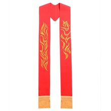 Clergy Red Exquisite Embroidered Stole with Golden Tassels for Chasuble/Cope/Vestments(China)
