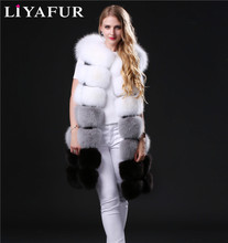 LIYAFUR Real Genuine Long Natural Thick Blue Fox Fur Sleeveless Vest Winter Full Pelt Fur Gilet Waistcoat for Women Multi Color
