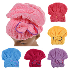 Turban Quickly Dry Hair Hat 2016 6 Colors Microfiber Solid Hair Womens Girls Lady's Cap Bathing Tool Drying Towel Head Wrap Hat(China)