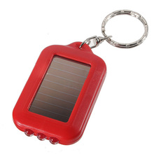 10X Mini Solar Power Rechargeable 3LED Flashlight Keychain Light Torch Ring New - red(China)