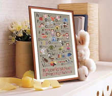 Top Quality Lovely Counted Cross Stitch Kit Alphabet Letters List Teaching ABCD Cartoon