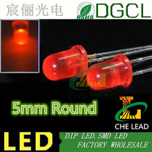 Free shipping 1000PCS RED diffused 5mm led diode 620-625nm round dip led(CE&Rosh)(China)