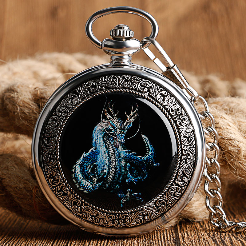 Skeleton Mechanical Hand Wind Dragon Pendant Antique Style Pocket Watch Silver Fob Chain Steampunk Roman Number Vintage Gift Men<br><br>Aliexpress