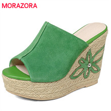 MORAZORA Top quality wedges shoes high heels 11cm summer platform shoes woman sandals genuine leather shoes fashion contracted(China)