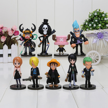 9Pcs/set One Piece Action Figures Monkey D Luffy Roronoa Zoro Nami Usopp Sanji Tony Chopper Nico Franky Brook OP Full Toys