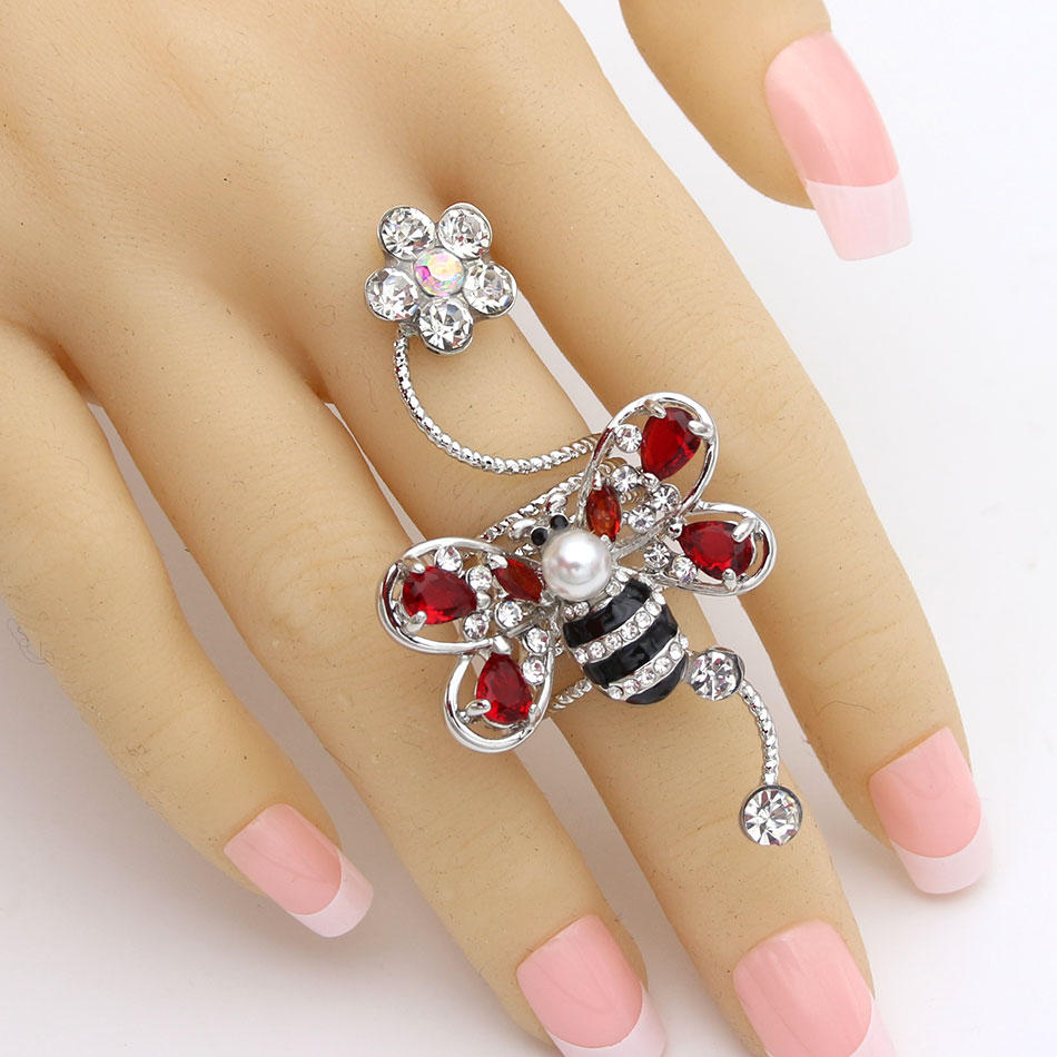 Fashion Women Bee Spring Ring Platinum Plated Crystal Animal Flower Wedding Rings Exquisite Bride Banquet Jewelry Female Ring
