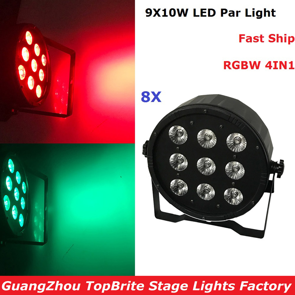 8Pcs LED Flat Par Light 9X10W RGBW 4IN1 DMX Stage Lights Business Lights High Power Lights With Professional For Party KTV Disco<br>