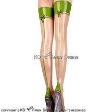 Buy Transparent Apple Green Trim Sexy Long Latex Stockings Bows Back Rubber Thigh high stockings WZ-0033