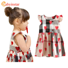 2017 Special Design Girls Dress Cotton Love Pattern Ruffles Sleeve Plaid Princess Baby Costume Children Clothes Girls Dresses