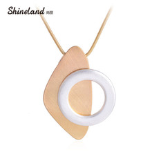 Buy Shineland Unique Polishing Drawing Design Necklace Pendant Gold Silver Round Geometric Statement Fashion Jewelry Women Men for $3.52 in AliExpress store