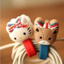 10pcs/lot Cute Hello Kitty Headphone Earphone Cable Wire Organizer Cord Holder USB Charger Cable Winder For iphone samsung