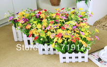 flowers +vase Artificial flower set decoration16cm rustic small china aster wood fence bowyer set Home furnishings flower bonsai(China)