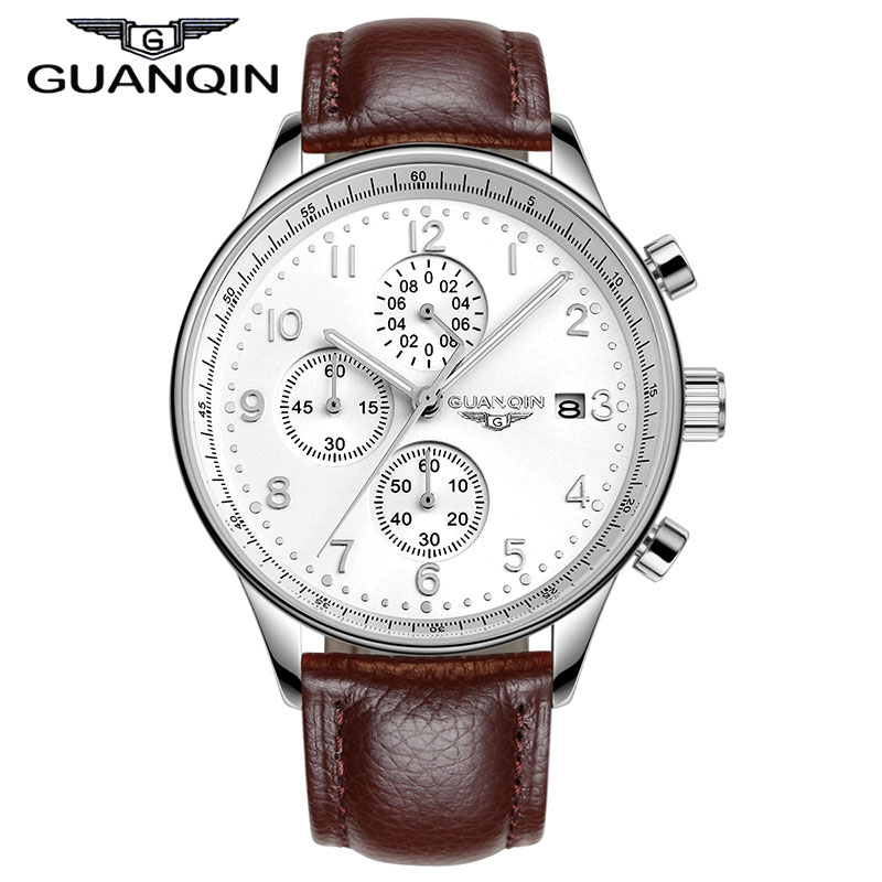 Mens Watches Luxury Brand GUANQIN relogio masculino relojes New Fashion Quartz Watch Stopwatch Luminous Wristwatches<br>