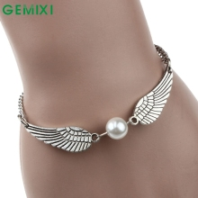Bling-World Fashion Jewelry Retro Simulated Pearl Angel Wings Charm Bracelet for Women Delicate New Arrival