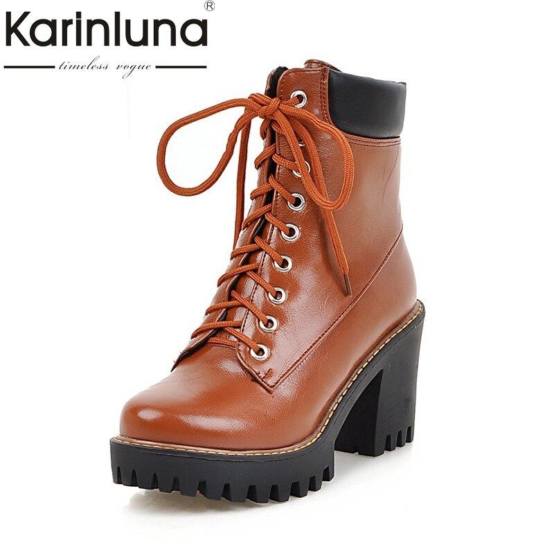 KARINLUNA 2017 Plus Size 33-43 Leisure brand Woman Shoes Fashion Square high Heel Add Fur Winter Warm Martin Boots Women<br>