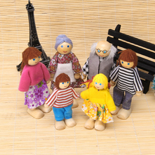 Children Baby Family Wooden Puppet Doll Finger Toys Playing Educational Toy 6Pcs