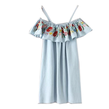 New summer light blue flowers embroidered cowboy dress female sling flounces laminated decorative thin