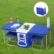 Multi Function Rolling Cooler With Table And 2 Chairs Picnic Camping Outdoor HW51118(China)