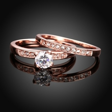 R020 2 Round Bijoux Fashion Bridal Rings Set 2pcs Couple Rings Together Best Wishes Gift Ring For Woman USA size 5 6 7 8 9