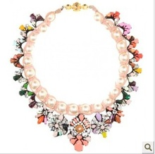 Free shgipping Shourouk colorful crystal gem pearl knitted necklace neon Rhinestone top quality fashion statement necklace