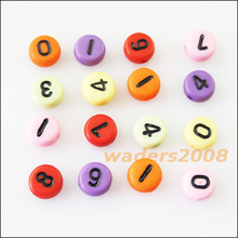 150Pcs Mixed Acrylic Plastic Black Numbers Spacer Beads Charms 7mm