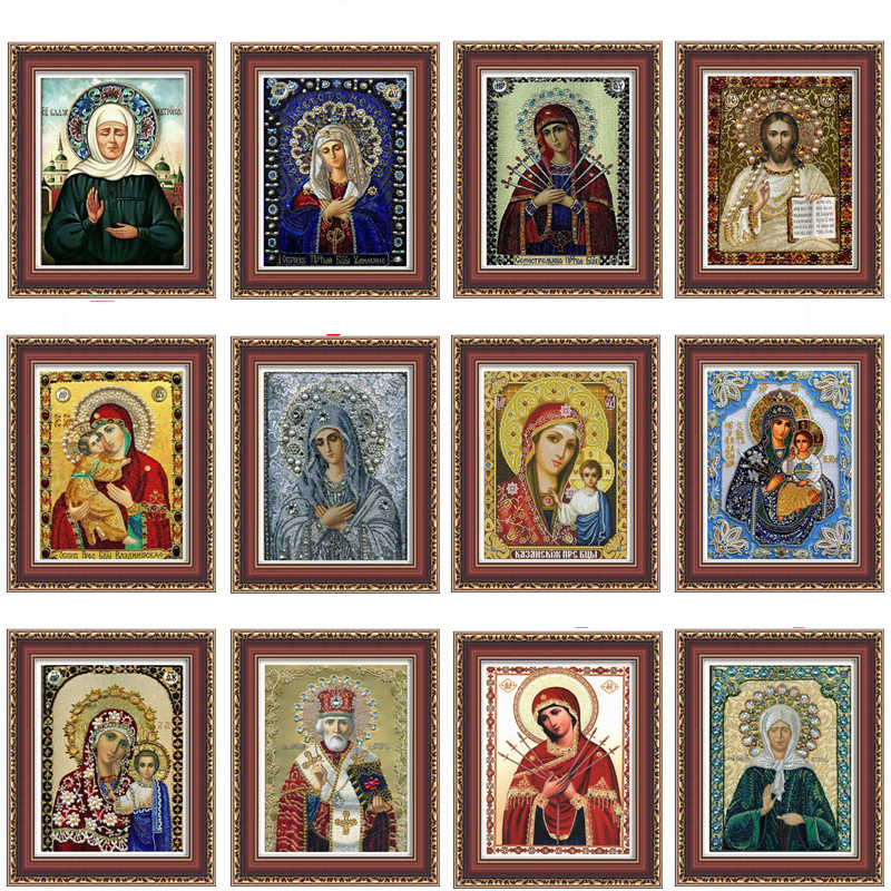 RUBOS Face Print Religions diamond embroidery Blue our lady son Icons DIY 5D diamond painting 3D crystal Patterns Partial mosaic (7)
