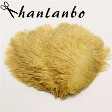 50pcs/lot gold ostrich feather 25-30 cm / 10 -12 inches plumages splendid ostrich feather for wedding decorations plume