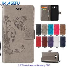 "IKASEFU Leather Stand Phone Case for Samsung Galaxy ON7 G6000 5.5"" Sock Embossed Butterfly Magnet Closure Card Wallet Flip Cover"