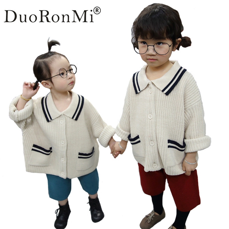 DuoRonMi 2017 Cute Spring Autumn Baby Boys Clothing Sets  Girls Sweaters +Shorts 2pcs Set Kids Knitted Cardigan Clothes Suit<br>