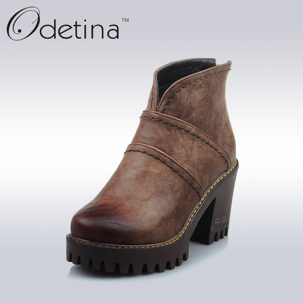 Odetina Retro Brown Women Chunky Heel Ankle Boots Ladies Back Zipper Platform Boots Spring&amp;Autumn Large Size Casual Booties<br>